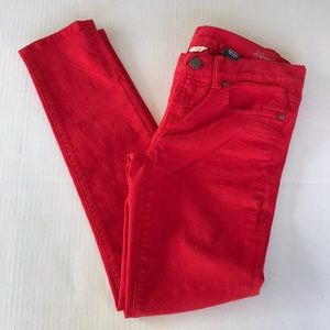 J. Crew tooth pick ankle red pants size 25